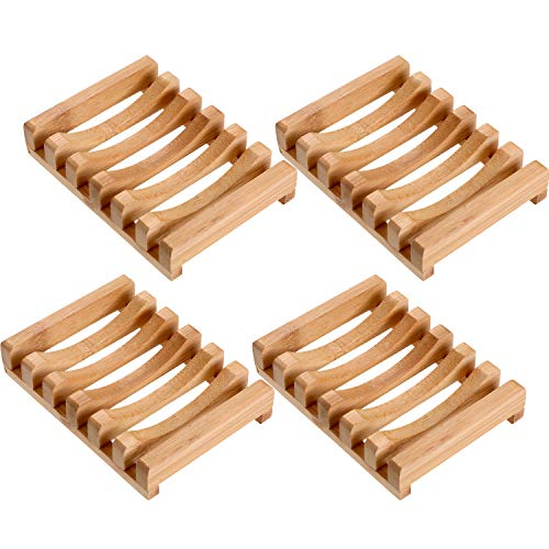 (4 Pieces Wooden Soap Case Holder Natural Rectangular Wood Soap Dish Holder for Kitchen Bathroom Sponge Scrubber Soap (Style 1))