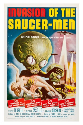 INVASION of the SAUCER MEN 1957 movie poster CREEPING horror