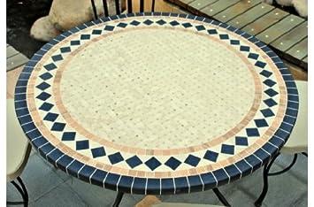 ZELLIGE : Table mosaïque de jardin en Marbre et fer forgé - pierre ...