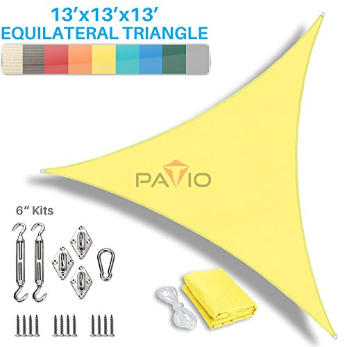 Patio Paradise 13 x 13 x 13 Sun Shade Sail with 6 inch Hardware Kit, Canary Yellow Equilateral Triangle Canopy Durable Shade Fabric Outdoor UV Shelter – 3 Year Warranty – Custom