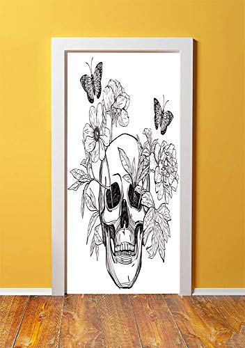 Day Of The Dead Decor 3D Door Sticker Wall Decals Mural Wallpaper,Skull with Flower Blooms and Butterflies Vintage Gothic Print,DIY Art Home Decor Poster Decoration 30.3x78.14032,Black and White