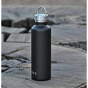 MIRA 25 Oz Stainless Steel Vacuum Insulated Water Bottle | Thermos Keeps Your Drink Cold for 24 hours & Hot for 12 hours, Doesn't Sweat | Large Powder Coated Water Flask with 2 Lids | Matte Black