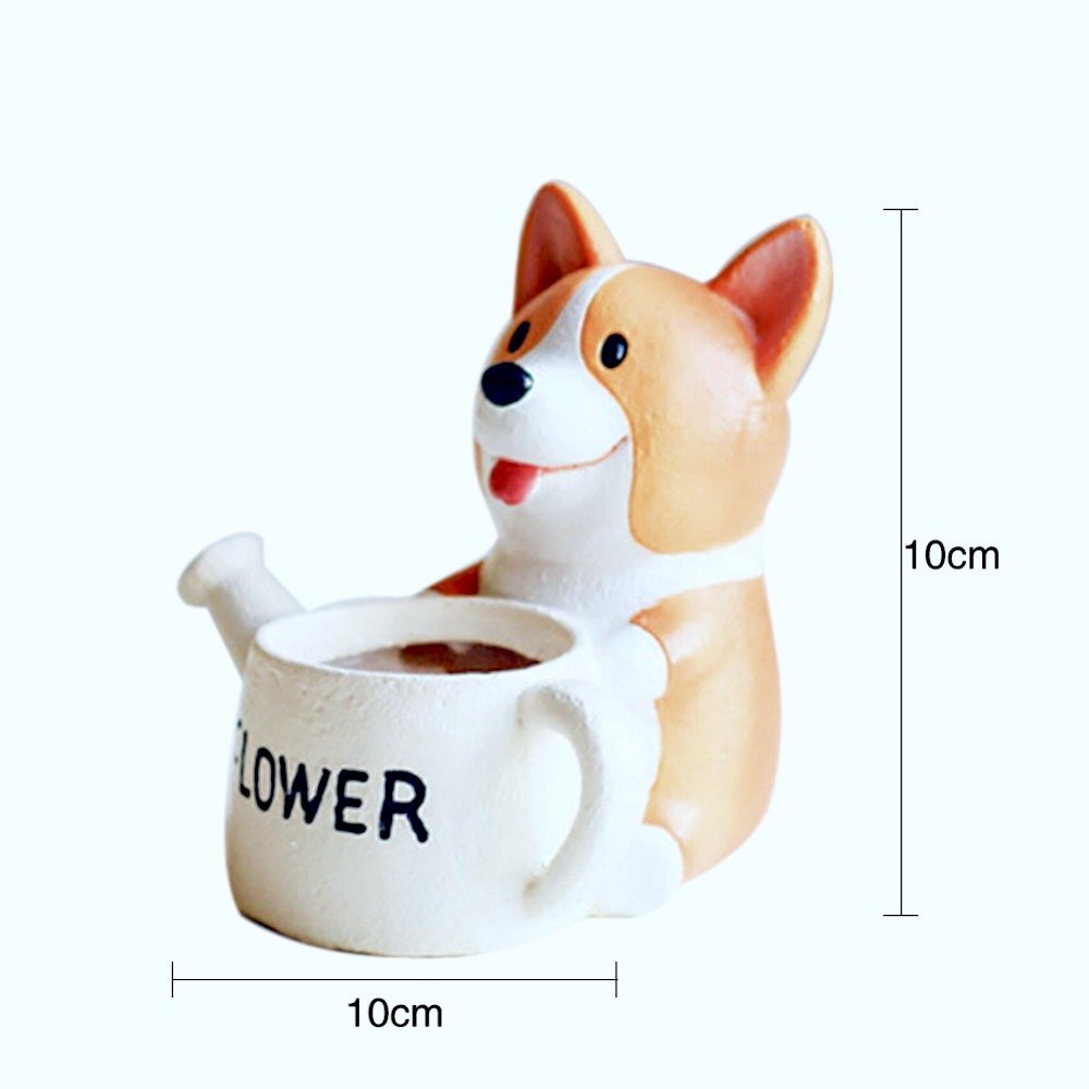 1 pc Animal Dog Cute Cartoon Resin Flowerpots DIY Home Decoration (Front Pot)