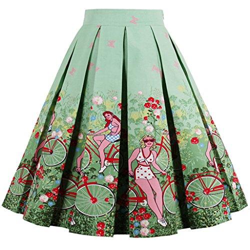 FAIRY COUPLE Impreso Oscilación Floral Falda Ocasional de la Falda Plisada de la Vendimia DRT007 Floral Verde