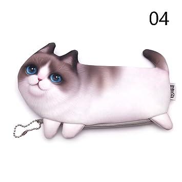 Binglinghua - Estuche de maquillaje con cremallera para gatos, diseño de gato simulado 3D: Amazon.es: Oficina y papelería