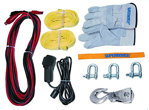 Superwinch 1140222 Winch 2 Go 12V 4000 Portable Winch System (4000lb with Wire Rope, Pulley Block, Gloves, Straps and D-Shackles) by Superwinch (Image #1)