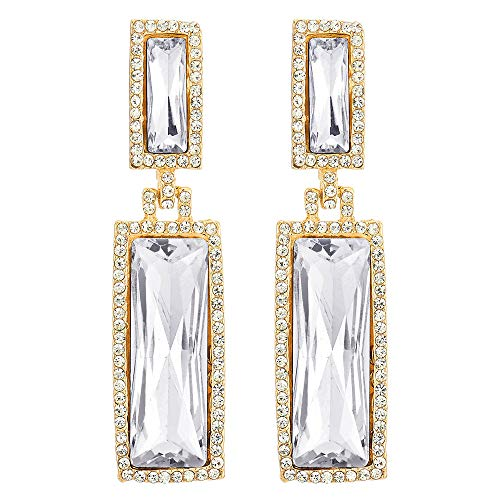 - Sparkling Party Event Banquet Crystal Rhinestone Cluster Double Rectangles Long Dangle Gold Earrings