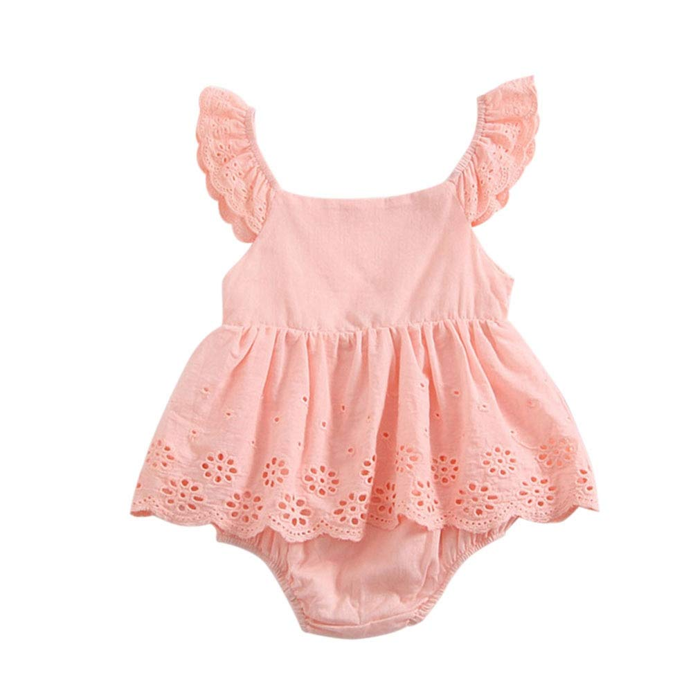 Newborn Baby Girl Bell Ruffle Sleeve Sweet Solid Romper Jumpsuit Outfit Clothing