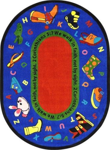 Kid Essentials - Inspirational Area Rugs Walk In Faith Multi by Joy Carpets