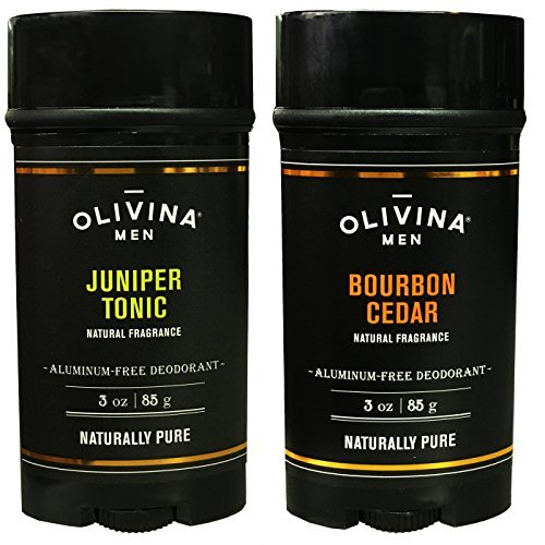 Olivina Men Bourbon Cedar and Juniper Tonic Deodorant Aluminum Free Deodorant For Men 3 Ounce (Pack of 2)