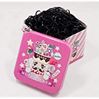 1 Box (700PCS) Disposable Hair Ponytail Holders Elastic Hair Bands Hair Tie Rubber Bands with Cute Tin Box for Baby Kids Girls (Pink)