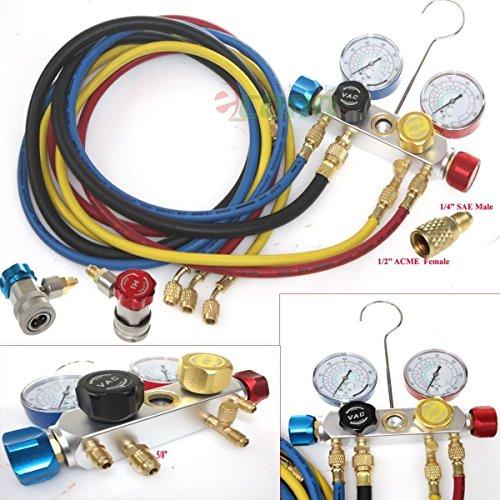 R410a R134a R12 R22 4 Way Valve Manifold Gauge + 4 Hoses Quick Adapter Hvac Kit