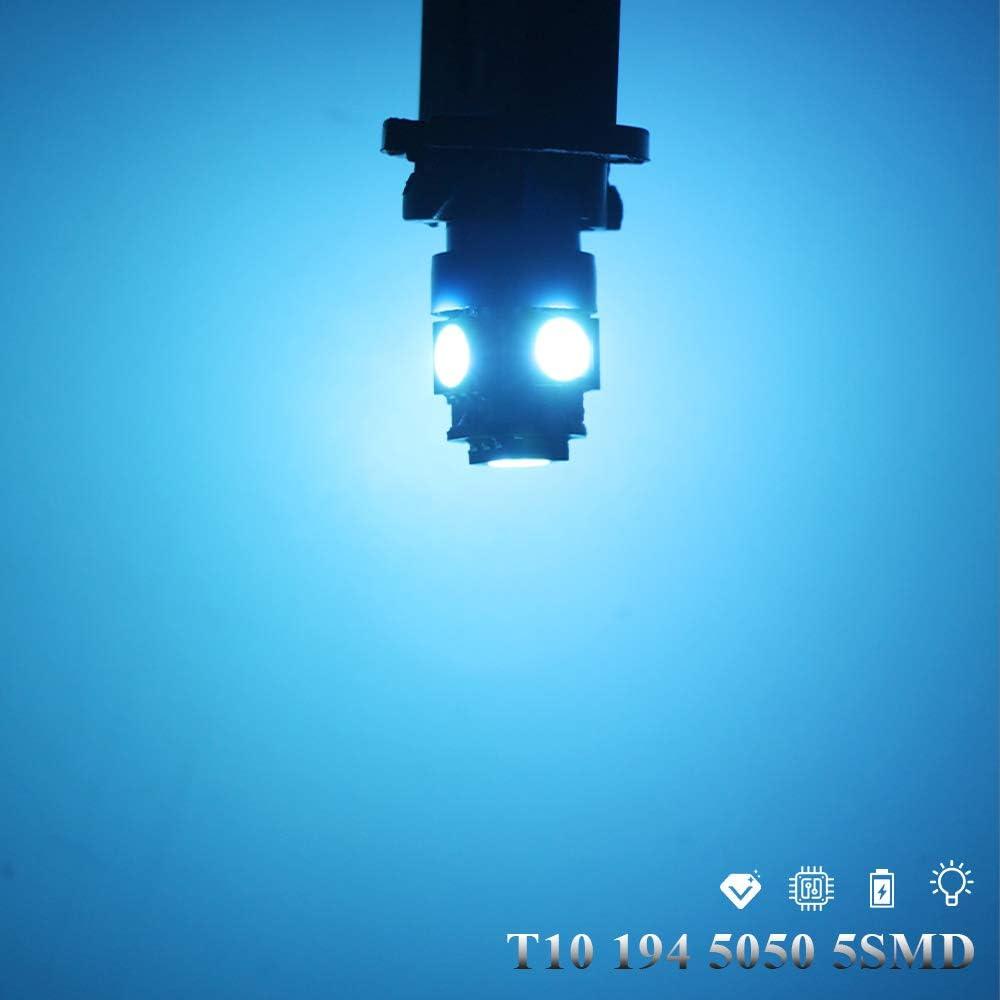 Grandview 10 bombillas LED blancas T10 5050 12 V W5 W 2825 T10 para coche 5 SMD 194 192 168 luces de lectura de coche para puerta de coche