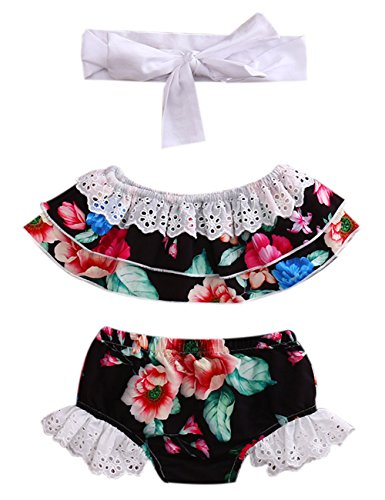 CaNIS Newborn Baby Girls Strapless Lace Ruffle Floral Tube Top and Shorts Outfit with Headband