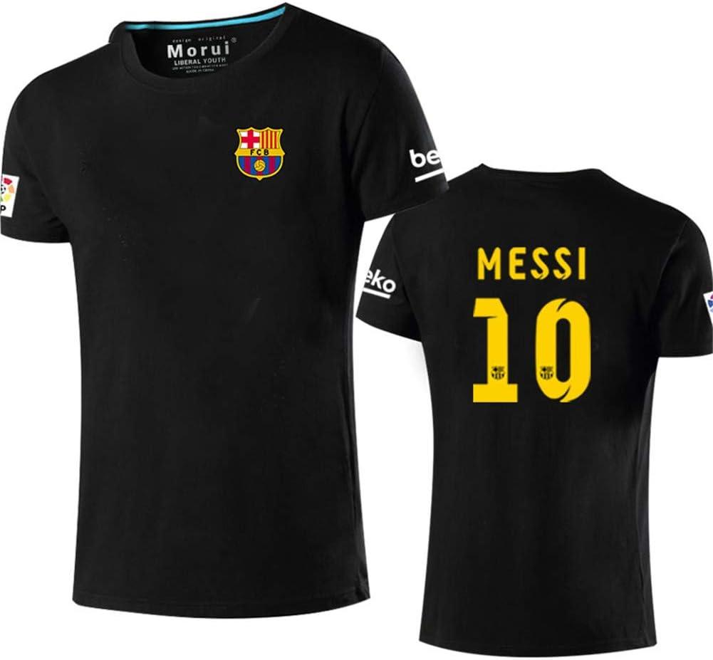 Manga Corta Camiseta T-Shirt No. 10 Messi Barcelona Soccer Club Round Cuello Regalo De FúTbol para Hombres Y Mujeres NiñOs NiñAs