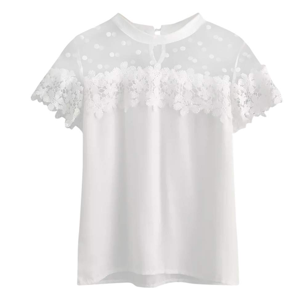 Women's Shirts Shor Sleeve Lace Patchwork Casual Tunic Blouse Tops for Teen Girls (S, White)