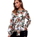 Flurries Women Dress, Fashion Women Casual Long Flare Sleeve Blouse Chiffon Print Shirt O-Neck Hollow Out Tops (M, White)