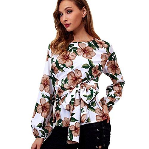 Flurries Women Dress, Fashion Women Casual Long Flare Sleeve Blouse Chiffon Print Shirt O-Neck Hollow Out Tops (XL, White) by Flurries