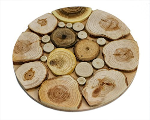 Handmade Wooden Trivet for Hot Dishes - 7.5 Inch. - Big Coaster - 6 Sorts of Wood - Natural Smell - Unique Art Decor in the Kitchen - Made by SPL Woodcraft Ukraine by SPL woodcraft