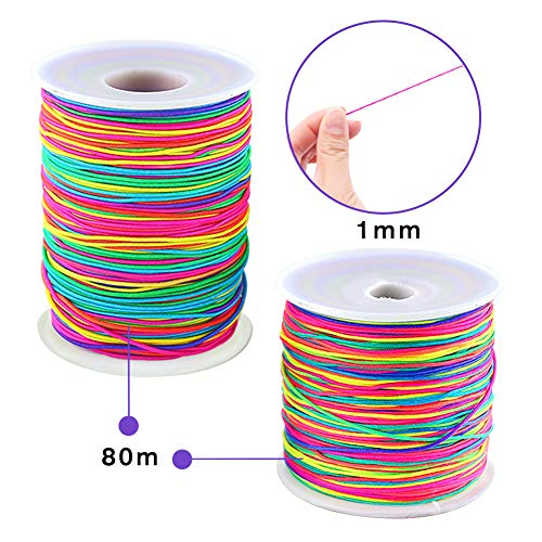 VGOODALL 80M Colorful Elastic Cord Beading Cord Stretchy String and 80M Colorful Bracelet String Nylon Rope for Bracelets, Necklace, Jewelry Making and Crafts,1MM