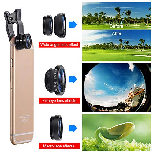 Bigmai 3 in 1 Phone Lens Kit - Macro Lens,Wide Angle Lens,Fisheye, Clip-On Cell Phone Camera Lenses for iPhone Android Samsung Mobile Phones and Tablets (red) by Bigmai (Image #6)