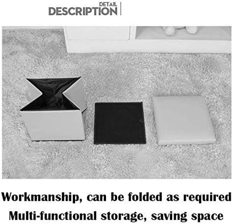 YUMUO Tabouret de Rangement Pouf Pliant Repose-Pieds Siège Simple Pouf rembourré en Cuir Cube Pliant (Couleur: Violet)