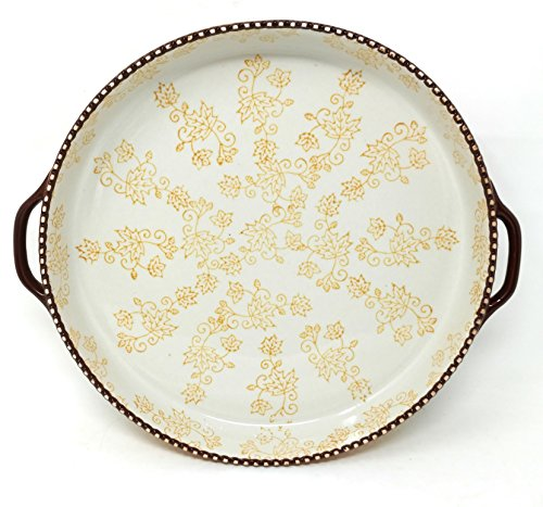 Temp-tations 11 inch x 1.75 inch Pizza Deep Dish w/Handles Tart Pan or Shallow Pie/Quiche 1.5 Quart (Floral Lace Fall)