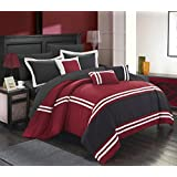 Chic Home 10 Piece Zarah Supersoft Oversized Pieced Color Block Banding Collection Comforter Set, King, Red