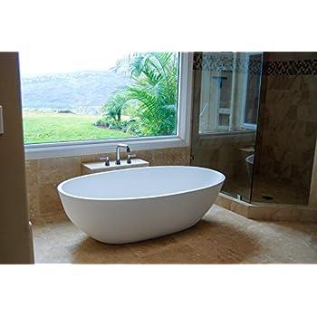 Luxury Freestanding Soaking Bathtub With Overflow White