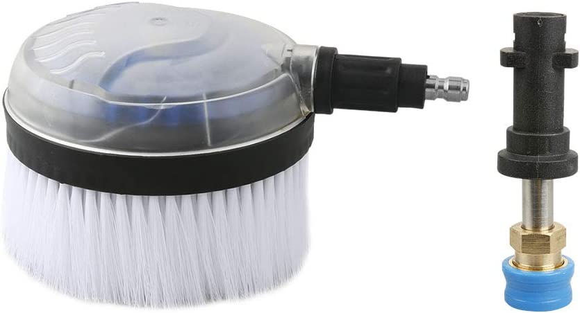Atmozon High Pressure Washer Rotating Wash Brush with 1/4 Inch QC, Non-Electric Automatic 360 Degree, 1/4 Inch Blue Holder Coupler Brass Female Quick Connector and 0.8 Inch Wand, Fit Karcher K Series