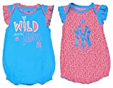 Outerstuff York Yankees Girls Newborn/Infant Blue Pink Wild 2 Piece Creeper Set