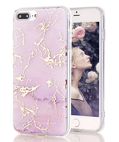 iPhone 7 Plus Case,iPhone 8 Plus Case,Spevert Marble Pattern Hybrid Hard Back Soft TPU Raised Edge Ultra-Thin Shock Absorption Protective Case for iPhone 7 Plus/iPhone 8 Plus - Purple