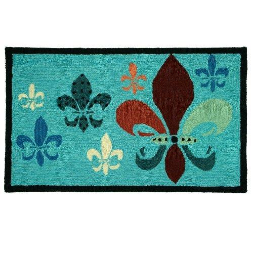 ncy Fleur De Lis Teal and Brown 22-Inch by 34-Inch Indoor Rug (Fleur De Lis Rectangle Rug)