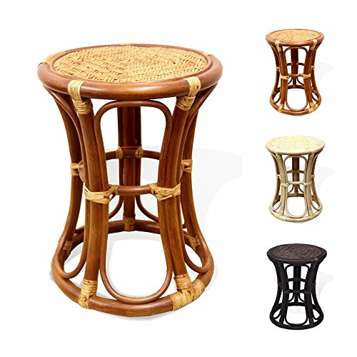 Breeze Handmade Rattan Wicker Stool Fully Assembled Colonial (Light Brown) (Rattan Furniture Vintage)