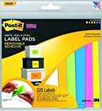 Post-it® Super Sticky Removable Label Pads, Assorted Neon Colors and Sizes, 21 Pads, 525 Labels per Pack (2900-M21)