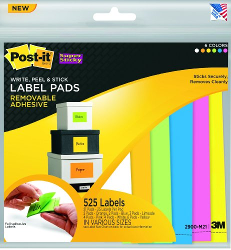 Post-it Super Sticky Removable Label Pads, Assorted Neon Colors and Sizes, 21 Pads, 525 Labels per Pack (2900-M21)