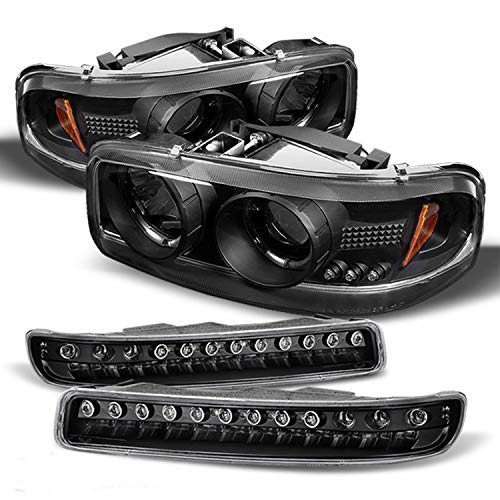 For GMC Sierra Yukon Halo Projector Headlights Lamps + LED Bumper Signal Lights Replacement Combo