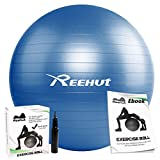Reehut Anti-Burst Core Exercise Ball w/ Pump & Manual for Yoga, Workout, Fitness (Blue, 75cm)
