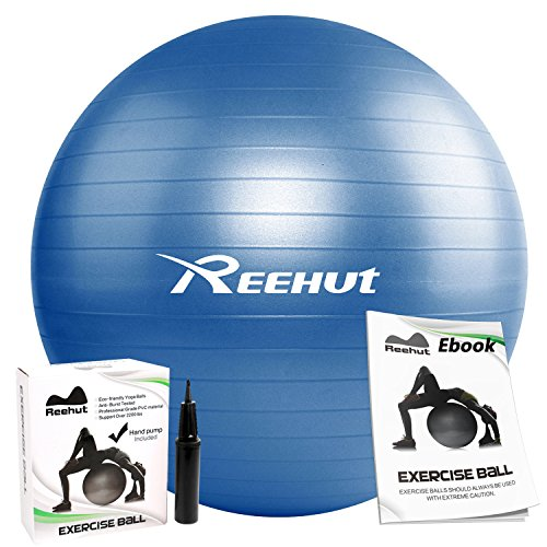 Reehut Anti-Burst Core Exercise Ball w/ Pump & Manual for Yoga, Workout, Fitness (Blue, 55cm)