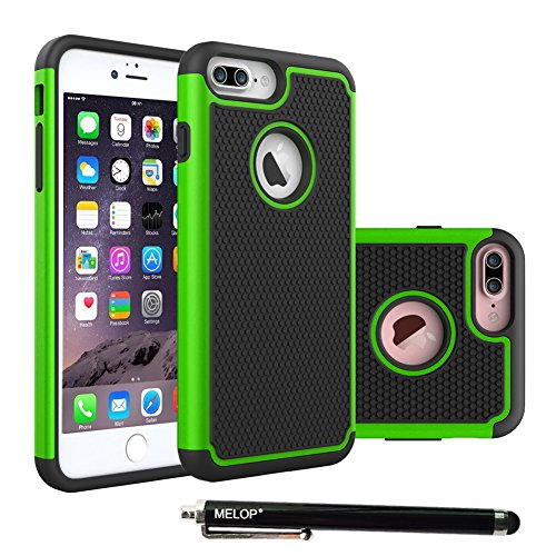 iPhone 7 Plus Case, 8 plus Case, MELOP Hybrid Dual Layer Shock Absorb Heavy Duty Armor Drops Protective Case for iPhone 7plus/ 8plus Bundle with a High Sensitivity Stylus - Green