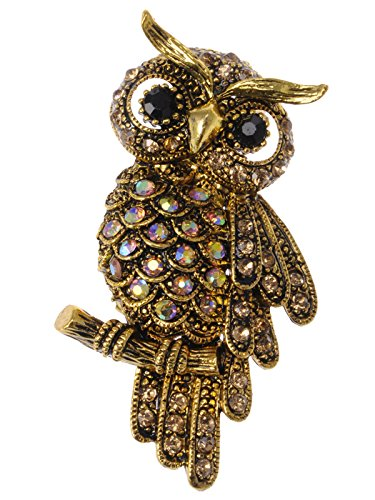 Owl Bird Brooch - Alilang Antique Gold Tone Light Topaz Colored Rhinestones Owl Bird Brooch Pin
