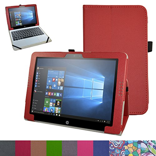 """HP Pavilion X2 12 Case,Mama Mouth PU Leather Folio 2-folding Stand Cover for 12"""" HP Pavilion x2 12 12-b020nr 12-b010nr Windows 10 Tablet 2016,Red -  Bigmouthstore, 6439005"""