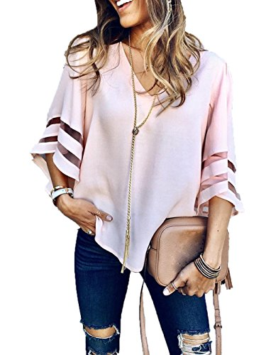 iChunhua Women's Casual Solid V Neck T Shirt Gauze Splicing Flare Half Sleeve Blouse (Solid Gauze)