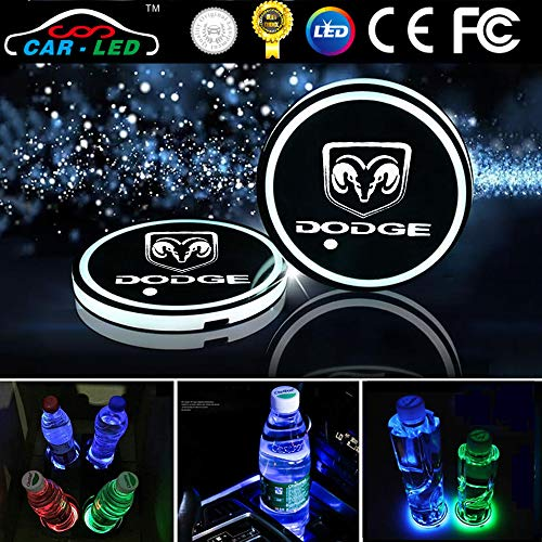 Heart Horse LED Cup Holder Lights, Car Logo Coaster with 7 Colors Changing USB Charging Mat, Luminescent Cup Pad Interior Atmosphere Lamp Decoration Light for Dodge Accessories (2 PCS, Waterproof) ()