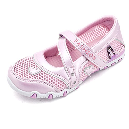 [Kids Girls Breathable Sandals Buckle Strap Mesh Princess Walking Shoes Summer] (Shoes For Child)