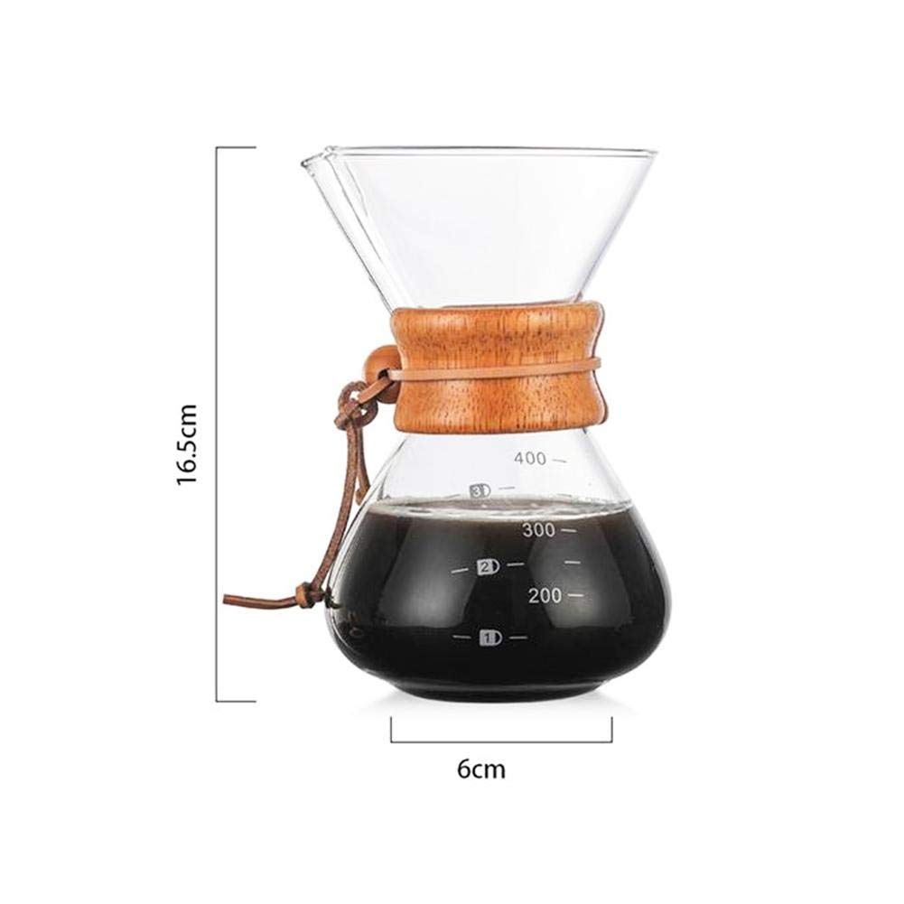 Presentimer Cafetera Manual de Vidrio con Filtro de Acero Inoxidable Cafetera de Vidrio Hecha a Mano Utensilios de caf/é