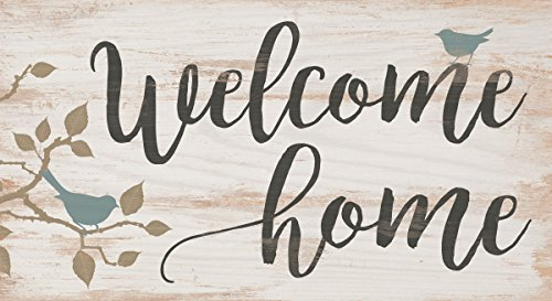 P. GRAHAM DUNN Welcome Home Birds Whitewash 5.5 x 10 Solid Wood Plank Wall Plaque -