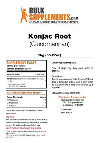 BulkSupplements.com Konjac Root Glucomannan Powder – Fiber Supplement Powder – Glucomannan Supplements – Soluble Fiber…