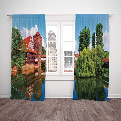 SCOCICI Satin Window Drapes Kitchen Curtains [ Landscape,Scenic Summer German Traditional Medieval Half Timbered Bridge River Town,Orange Blue Green] Bedroom Living Room Dorm Kitchen Cafe for $<!--$43.08-->