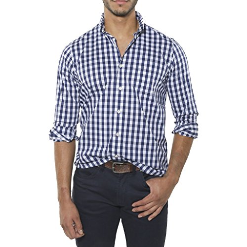 Tailor Vintage Long Sleeve Gingham Stretch Fast Dry Performance Shirt (Royal Gingham) Royale Blue
